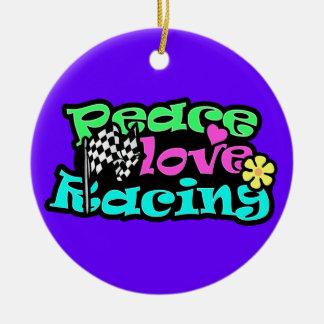 Peace, Love, Racing Christmas Ornaments