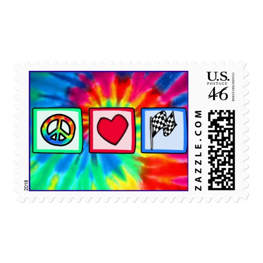 Peace, Love, Racing Stamps