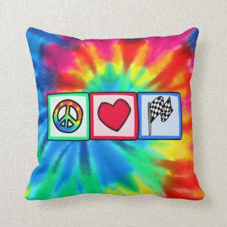 Peace, Love, Racing Throw Pillow