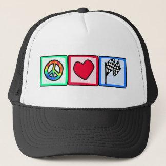 Peace, Love, Racing Trucker Hat
