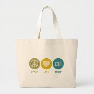 Peace Love Radio Tote Bags