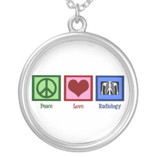 Peace Love Radiology Silver Plated Necklace