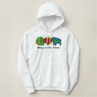 Peace, Love, Rat Terriers Embroidered Hoodie