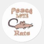 Peace Love Rats Classic Round Sticker