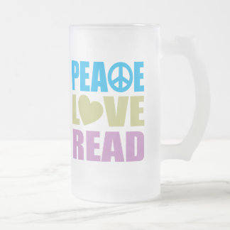 Peace Love Read 16 Oz Frosted Glass Beer Mug