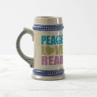 Peace Love Read 18 Oz Beer Stein