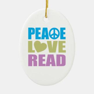 Peace Love Read Ceramic Ornament