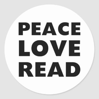 Peace Love Read Classic Round Sticker