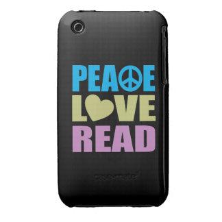 Peace Love Read iPhone 3 Case