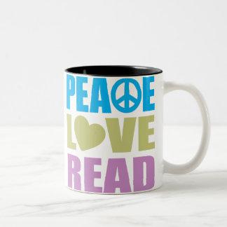 Peace Love Read Two-Tone Coffee Mug