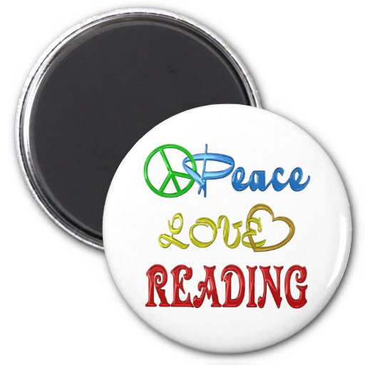 PEACE LOVE READING 2 INCH ROUND MAGNET