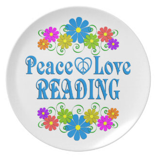 Peace Love Reading Dinner Plate