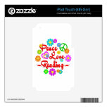 Peace Love Reading iPod Touch 4G Decals