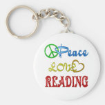 PEACE LOVE READING KEY CHAINS