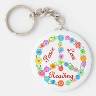 Peace Love Reading Keychain