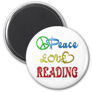 PEACE LOVE READING REFRIGERATOR MAGNETS