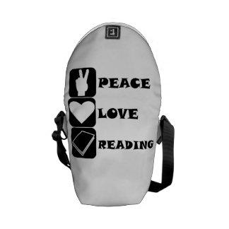 Peace Love Reading Messenger Bags