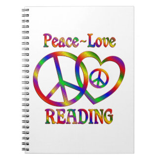 Peace Love Reading Spiral Note Books