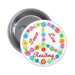 Peace Love Reading Pinback Buttons