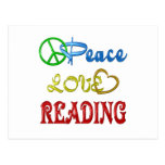 PEACE LOVE READING POSTCARD