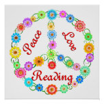 Peace Love Reading Poster
