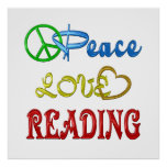 PEACE LOVE READING PRINT