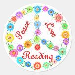 Peace Love Reading Sticker