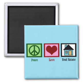 Peace Love Real Estate 2 Inch Square Magnet