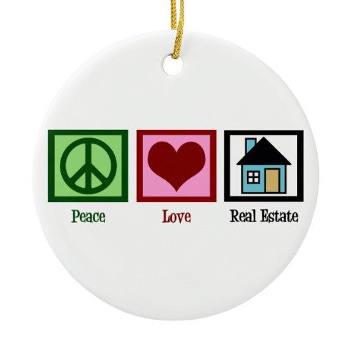 Peace Love Real Estate Ceramic Ornament