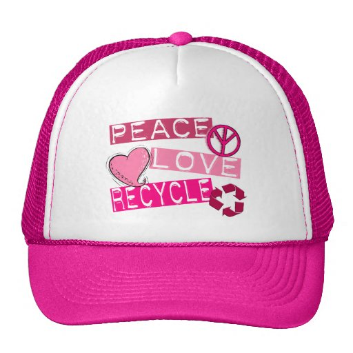 PEACE LOVE RECYCLE 3 T-Shirts & Gifts Trucker Hat