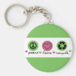 Peace, Love, Recycle. Basic Round Button Keychain