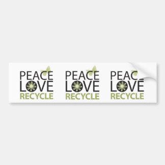 Peace Love Recycle Bumper Sticker