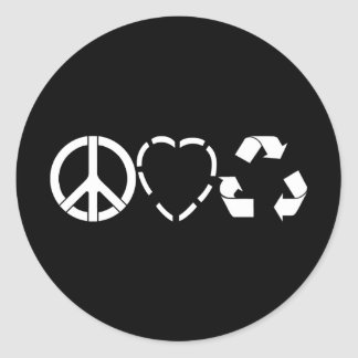 Peace Love Recycle Classic Round Sticker