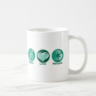 Peace Love Recycle Coffee Mug