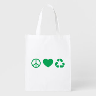 Peace Love Recycle Grocery Bag