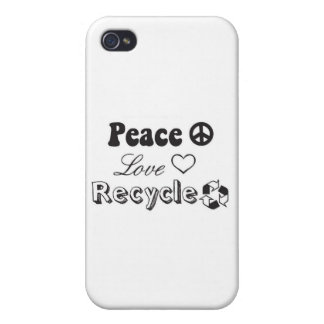 Peace Love Recycle iPhone 4/4S Covers