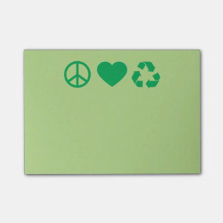 Peace Love Recycle Post-it Notes