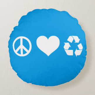 Peace Love Recycle Round Pillow