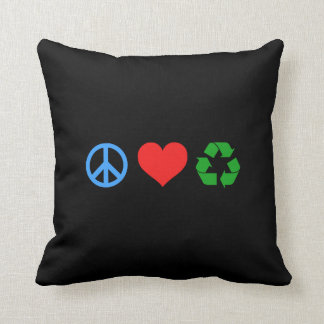 Peace Love Recycle Throw Pillow