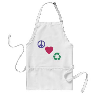 Peace, Love, Recycling Adult Apron