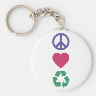 Peace, Love, Recycling Keychain