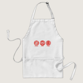 Peace Love Red Ribbon Hope Adult Apron