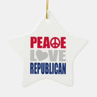 Peace Love Republican Double-Sided Star Ceramic Christmas Ornament