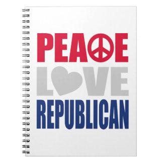 Peace Love Republican Spiral Notebook