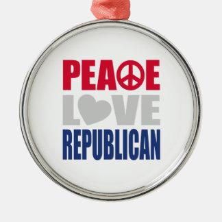 Peace Love Republican Round Metal Christmas Ornament