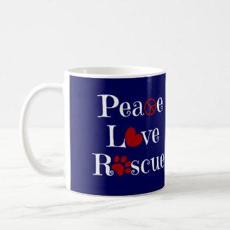 Peace Love Rescue, Animal Rescue Mug, RW&B Coffee Mug