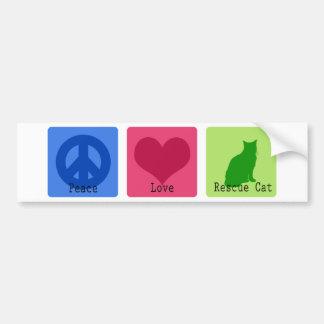 Peace Love Rescue Cat Bumper Sticker