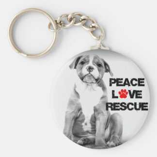 Peace Love Rescue Dog Keychain