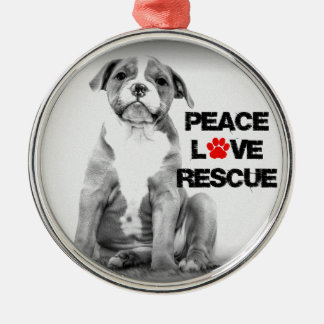 Peace Love Rescue Dog Metal Ornament