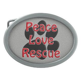 Peace Love Rescue Pet Adoption Oval Belt Buckles